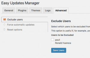 Advanced Tab for Easy Updates Manager