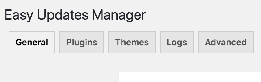 Easy Updates Manager Tabs