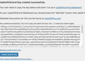 UpdraftCentral Key Created