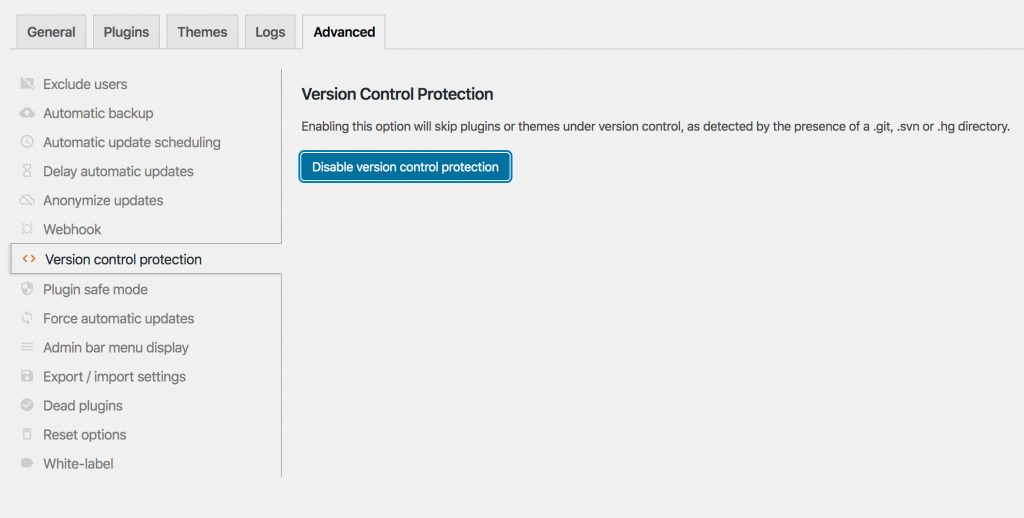Version Control Protection Advanced Settings