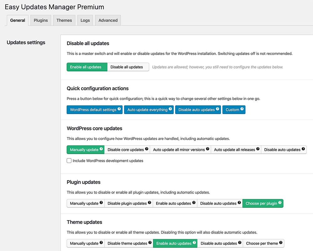Easy Updates Manager General Tab